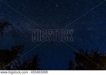 Night Sky Filled With Galaxy Stars Dark Blue Space Background.