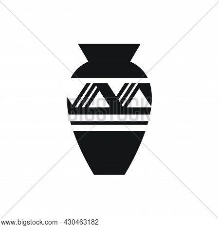 Black Pharaoh Vase Icon. Isometric Of Black Pharaoh Vase Vector Icon For Web Design Isolated On Whit