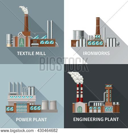 Factory Building Design Realistic Icons Set With Textile Mill Ironworks Engineering And Power Plant