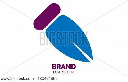 Simple Blue And Purple Color Work Pen Vector Illustration. Great For Icons And Logos. Office, Accoun