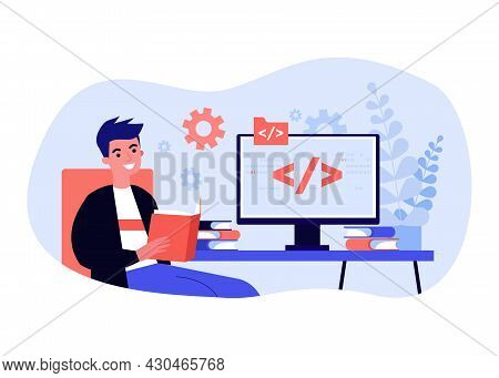 Young Man Studying Programming Languages. Flat Vector Illustration. Guy Sitting In Front Of Computer