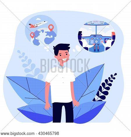 Cartoon Little Boy Dreaming Of Becoming Pilot. Flat Vector Illustration. Kid Thinking About Air Trav