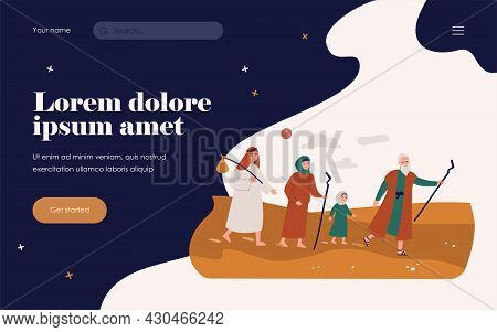 Moses The Prophet Leading Christian People Through Desert. Vector Illustration For Bible Characters,