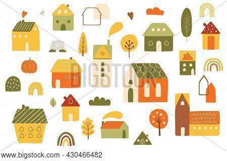 Autumn Houses Set. Country Autumn Landscape Elements. Wooden Houses, Autumn Trees, Fall Rainbows, Vi