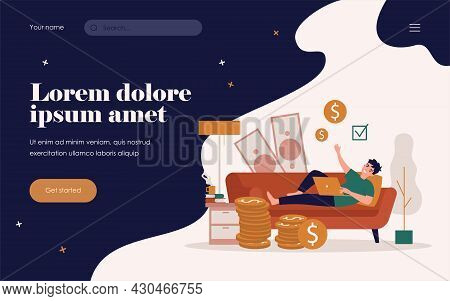 Happy Successful Freelancer Working And Earning Money At Home. Vector Illustration For Freelance, Fi