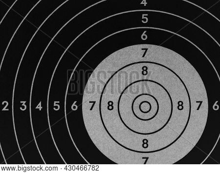 Target For Shooting. Dark Black And Gray Inverted Background Or Wallpaper. Backdrop For Shooting Spo