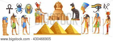 Ancient Egypt With Landmarks And Deities Mythology