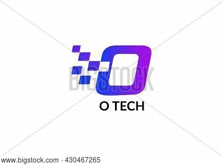Abstract O-tech O Letter Modern Minimalist Tech Emblem Logo Design