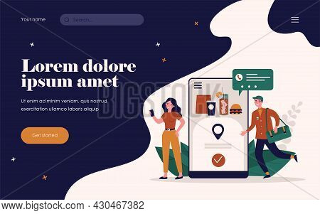 Woman Ordering Food Online. Courier, Smartphone, Express Flat Vector Illustration. Delivery Service