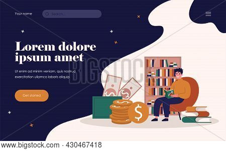 Student Studying Finance. Young Man Reading Book About Money Flat Vector Illustration. Financial Edu