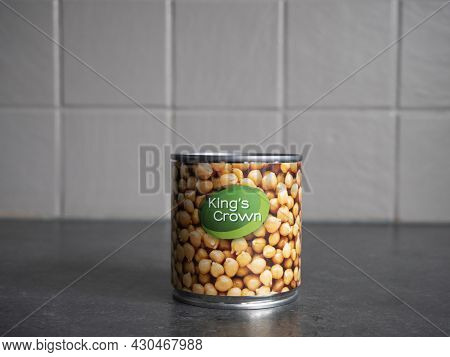 Sint Gillis Waas, Belgium, 20 August 2021, A Tin Jar With White Beans From Brand Kings Crown