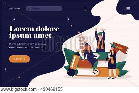 Students Celebrating Graduation. People In Gowns And Caps With Tassels, Diploma, Books Flat Vector I