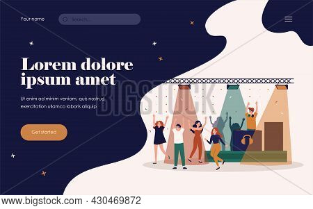 Cheerful Young People Dancing In Disco Club, Enjoying Night Party, Celebration Event. Vector Illustr