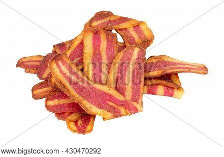 Fried Crispy Meat Free Plant Based Bacon Rashers Isolated On A White Background