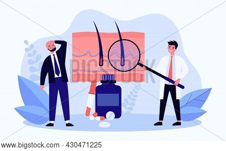 Hair Loss Treatment Flat Vector Illustration. Bald Man And Doctor With Giant Magnifying Glass, Exami