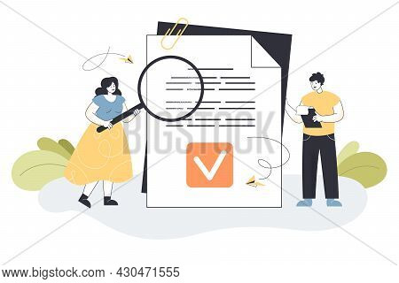 Tiny Cartoon Business People Reading Legal Document. Data Protection, Company Principles Flat Vector