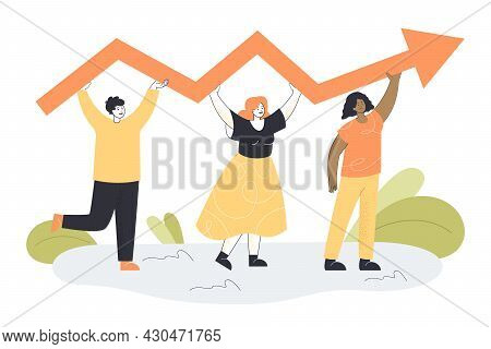 Tiny Business Persons Holding Arrow Together. Professional Development Scene, Job Progress Flat Vect