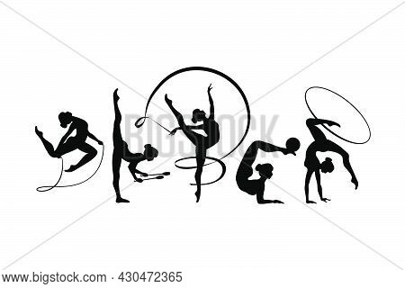 Rhythmic Gymnastics Girls With Different Inventory. Vector Dancer Silhouettes Black On White