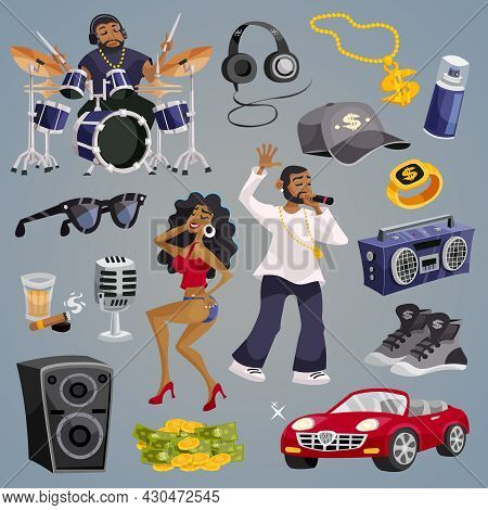 Rap Music And Hip-hop Style Elements Set Isolated Vector Illustration