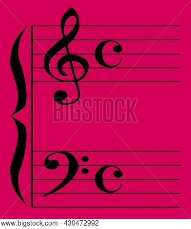 The Bass And Treble Clef With Stave Lines Set Over A Colored Background