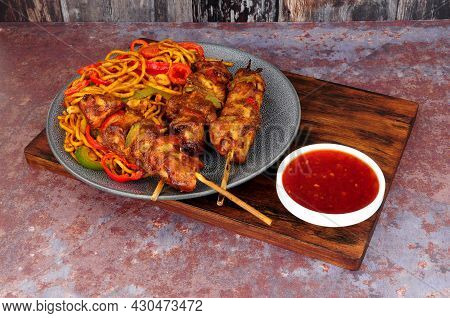 Sweet Chilli Chicken Skewers With Egg Noodle Stir Fry