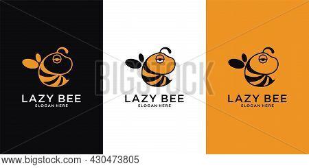 Lazy Bee Animal Logo Vector Design Illustration. Vector Cartoon Illustration Of A Bee Flying. Bee Ic