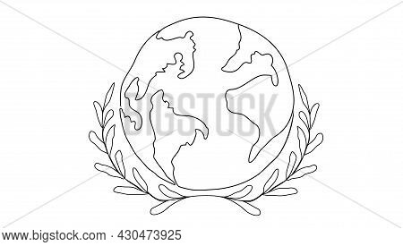 A Globe With A Bay Leaf Herb. The Concept Of A World Map In A Circle, Isolated On A White Background