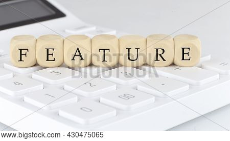 Wooden Cubes With Text Feature On The Calculator, Business Concept