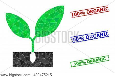 Triangle Plant Sprout Polygonal Icon Illustration, And Rubber Simple 100 Percents Organic Rubber Sea