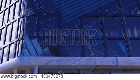Image of financial data processing with world map and statistics recording over modern building. global business and finances concept digitally generated image.