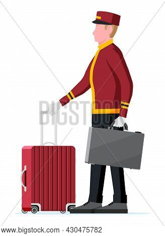 Hotel Bellboy At Work Carrying Guests Bags. Bellboy Character With Luggage Isolated On White Backgro
