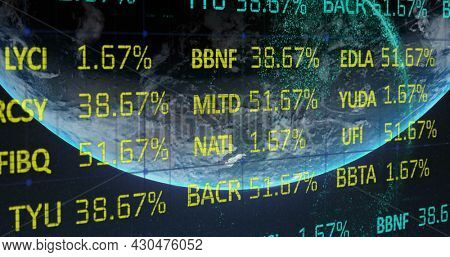 Image of financial data processing over grid and planet Earth in the background. Global business finances networking concept digitally generated image.