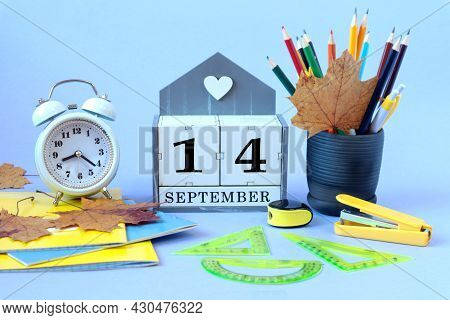 Calendar For September 14 : The Name Of The Month Of September In English, Cubes With The Number 14,