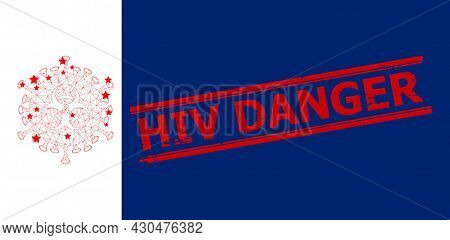 Mesh Biohazard Virus Polygonal Icon Vector Illustration, And Red Hiv Danger Unclean Stamp. Carcass M