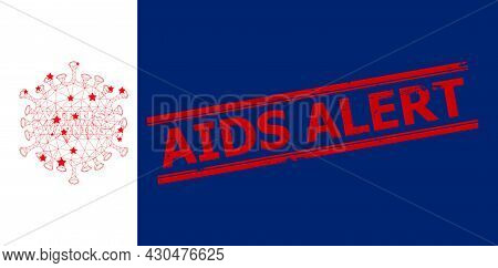 Mesh Danger Virus Polygonal Icon Vector Illustration, And Red Aids Alert Dirty Stamp Print. Carcass
