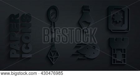 Set Fireball, Tarot Cards, Magic Stone, Castle Tower, Bottle With Potion And Hand Mirror Icon. Vecto