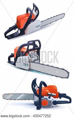 Set Gasoline Chain Saw 3d Image Isolated On White Timber Harvesting