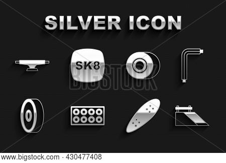 Set Skateboard Wheel, Tool Allen Keys, Park, Longboard Or Skateboard, Ball Bearing, And Icon. Vector