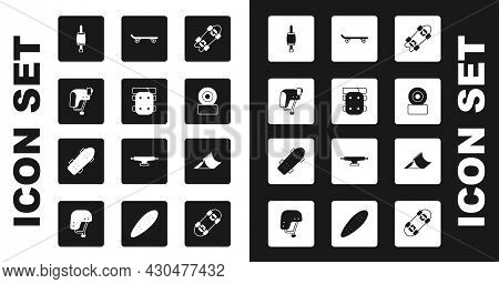 Set Longboard Or Skateboard, Knee Pads, Skateboard Helmet, Screwdriver, Wheel, Park And Icon. Vector