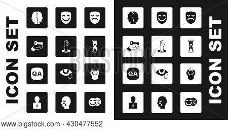 Set Drama Theatrical Mask, Helping Hand, Solution To Problem, Bipolar Disorder, Old Hourglass, Comed