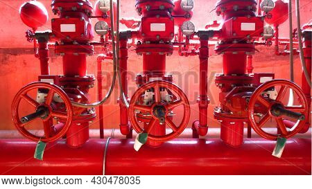 Red Valve In Oil And Gas Process. Red Valves On Metal Pipe. Valve Is A Device That Fire Valve, Insta