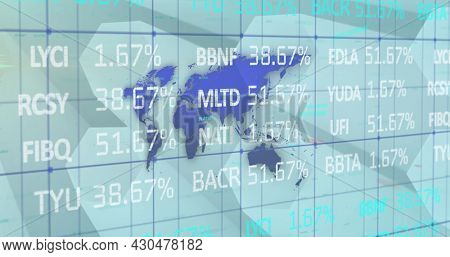 Image of financial data processing over world map. digital interface global connection and finance concept digitally generated image.