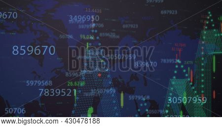 Image of numbers changing statistics recording over world map. digital interface global connection and finance concept digitally generated image.