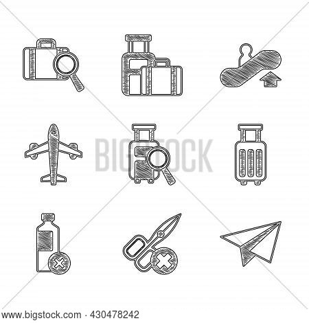Set Lost Baggage, No Scissors, Paper Airplane, Suitcase, Water Bottle, Plane, Escalator Up And Icon.