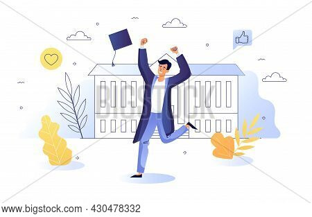 Graduated Student Concept. Joyful University Or College Student In Graduate Robe And Cap. Completion