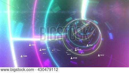 Image of data processing and social media people icons with numbers in glowing neon tunnel. Global finance business social media concept digitally generated image.