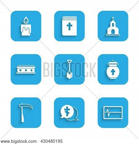 Set Shovel, Grave With Cross, Beat Dead In Monitor, Funeral Urn, Scythe, Coffin, Church Building And