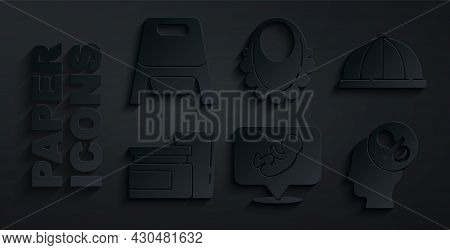 Set Baby, Hat, Food, Dummy Pacifier, Bib And Potty Icon. Vector
