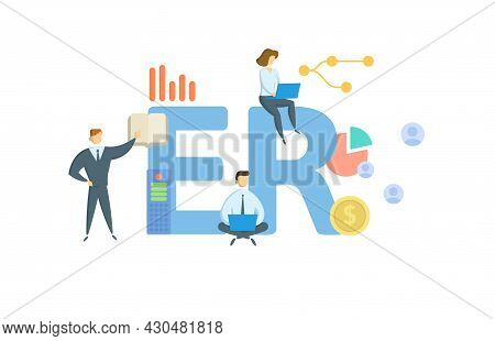 Er, Employer. Concept With Keyword, People And Icons. Flat Vector Illustration. Isolated On White.