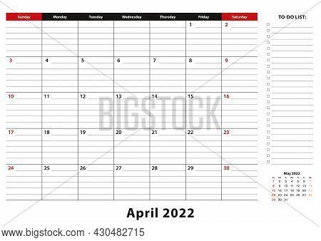 April 2022 Monthly Desk Pad Calendar Week Starts From Sunday, Size A3. April 2022 Calendar Planner W
